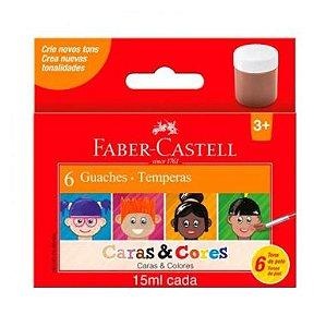 Tinta Guache Faber-Castell Caras & Cores 6 Cores 15ml
