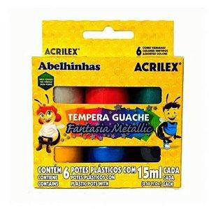 Tinta Guache Acrilex Metálica 6 Cores 15ml
