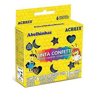 Tinta Confetti Acrilex C/6 Cores