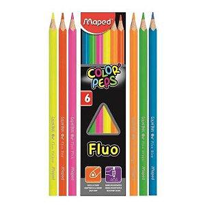 Lápis De Cor Maped Color Peps Neon 6 Cores Fluorescentes