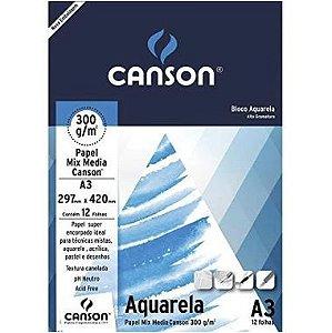 Bloco Aquarela A3 Canson 300g/m² 12 Folhas