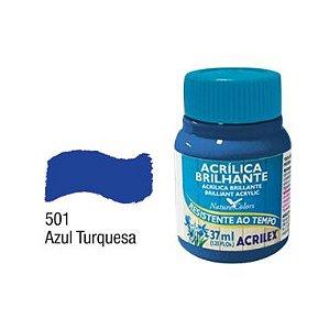 Tinta Acrílica Brilhante Acrilex 37ML Azul Turquesa 501
