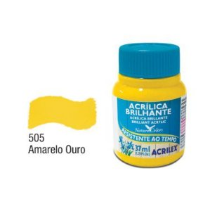 Tinta Acrílica Brilhante Acrilex 37ML Amarelo Ouro 505
