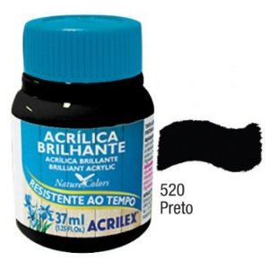 Tinta Acrílica Acrilex Brilhante 37Ml Preto 520