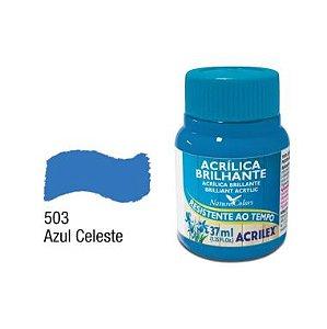 Tinta Acrílica Brilhante Acrilex 37ML Azul Celeste 503