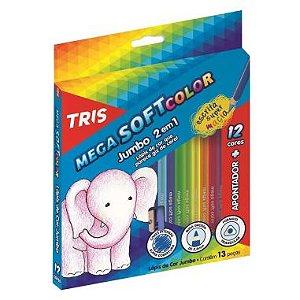 Lápis De Cor Tris Mega Soft Color 12 Cores Jumbo + Apontador