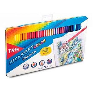 Lápis De Cor Tris Mega Soft Color 72 Cores Lata