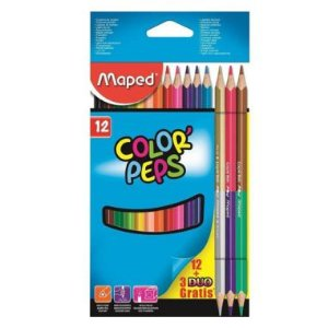 Lápis De Cor Maped Color Peps 12 Cores + 3 Bicolor Triangular