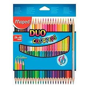 Lápis De Cor Maped Color Peps Duo 24 Lápis 48 Cores Bicolor