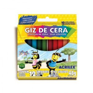 Giz de Cera Acrilex 12 Cores Fino