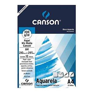 Bloco Aquarela  A4 Canson 12 Folhas
