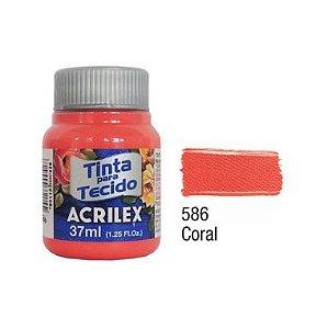 Tinta P/Tecido Fosca Acrilex 37ML Coral 586