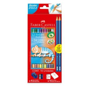 Lápis De Cor Faber Castell 12 Lápis 24 Cores Bicolor