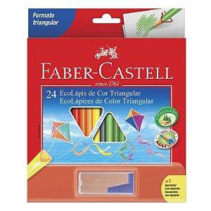 Lápis De Cor Faber Castell 24 Cores Triangular + Apontador