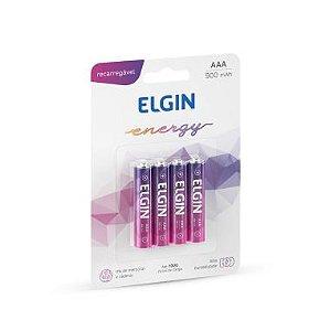 Pilha AAA Elgin Energy C/4 Recarregável 900mAh