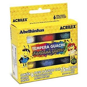 Tinta Guache Acrilex Glíter 6 Cores 15ml