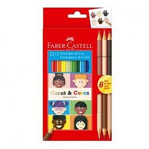Lápis De Cor Faber Castell Caras E Cores 12 Cores + 3 Bicolor