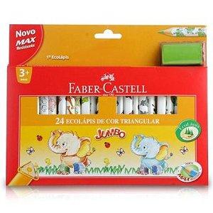Lápis De Cor Faber Castell Jumbo 24 Cores Triangular + Apontador