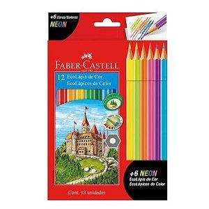 Lápis De Cor Faber Castell 12 Cores + 6 Cores Neon