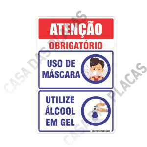 Placa Kit Uso de Mascara e Álcool Gel 20x30cm PVC 1mm