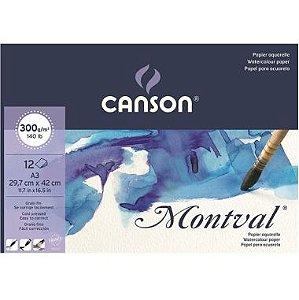 Bloco Aquarela Montval A3 Canson 300g/m² 12F