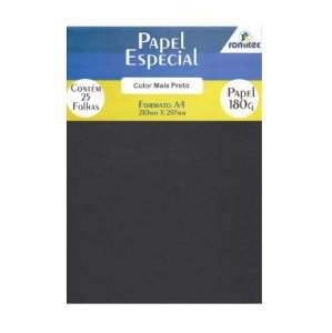Papel Color Plus Preto 180G C/25