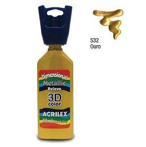 Tinta Dimensional Metálica Acrilex 35ML Ouro 532