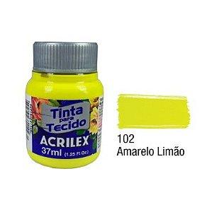Tinta P/Tecido Neon Acrilex 37ML Amarelo Limão 102