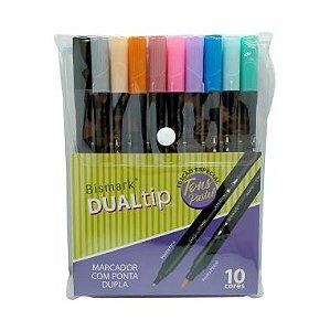 Caneta Brush Bismark DUALtip C/10 Cores Pastel