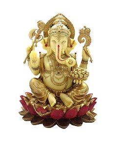 Estátua Ganesh Marfim Dourado Flor de Lótus 32cm