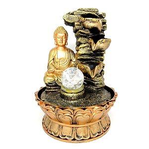 "Fonte Buda Sidarta ""Mystic Golden"" 3 Quedas c/ Bola | Bivolt"