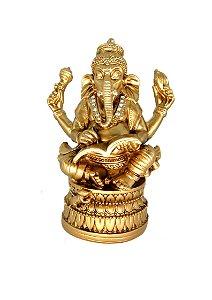 Ganesh Dourado de Resina c/ Strass - 17cm