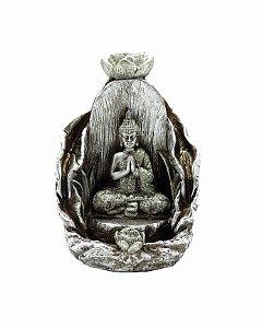 """Porta Incenso Cascata Buda Prata """"Silver Syd"""" - 14cm"""