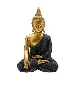 Buda Sidarta Gautama Dourado - 26cm (Resina)