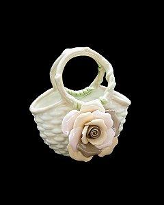 Bolsinha Branca de Porcelana c/ Flor