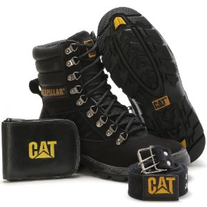 Kit Bota Caterpillar Masculino Preto e Carteira e Cinto - Ref Arizon