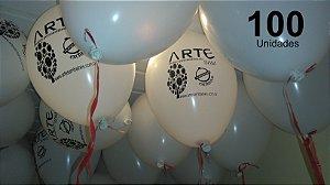 100 Balões em latex 9 polegadas personalizados da forma que desejar. Com sua logomarca ou o tema de sua festa. As cores de balões podem ser definidas posteriormente