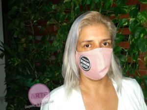 Máscara de proteção em tricoline Ideal Rosa Chá - Poazinho
