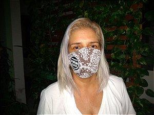 Máscara de proteção em tricoline estampa bandana