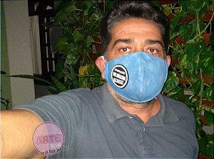 Máscara de tripla proteção em tricoline azul sereno poeirinha