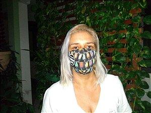 Mascara de proteção tripla feita em tricoline mista estampa moto