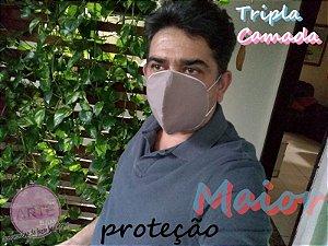 Mascara de proteção tripla tricoline floral janelinha mostarda