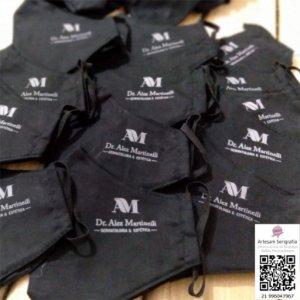 Máscaras em tricoline impressas com logomarca