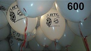 600 Balões em latex 9 polegadas personalizados com o layout que desejar. Ideal para incentivar visitações semanais em sua loja