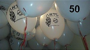 50 Balões em latex 9 polegadas personalizados promovendo seu produto