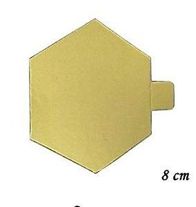 Base Laminada Dourada Hexagonal 8cm - 30 unid