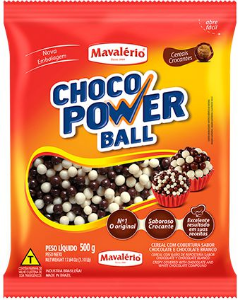 Chocolate Choco Power Ball Mini Chocolate e Chocolate Branco Mavalério 500g