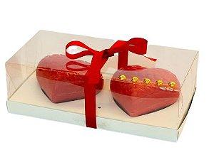 Caixa Ovo de Colher Coração Vermelho 2 Cavidades 250G c/ 5unid