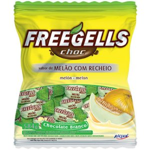 Bala Freegells Choc.branco/Melão Riclan 584g