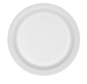 Prato Raso Descartável Branco 21cm - 10 unid